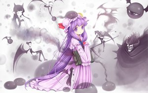 Rating: Safe Score: 73 Tags: 10m dragon hat horns long_hair patchouli_knowledge pointed_ears purple_hair scythe touhou weapon wings User: opai