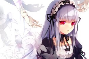 Rating: Safe Score: 157 Tags: choker flowers gothic gray_hair headdress long_hair red_eyes ribbons rozen_maiden suigintou tukino_(panna) User: FormX