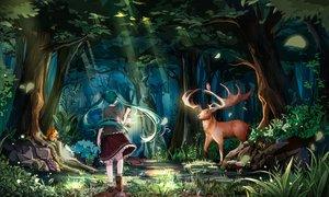 Rating: Safe Score: 46 Tags: animal aqua_hair bird forest hatsune_miku hnanati long_hair night tree twintails vocaloid User: luckyluna