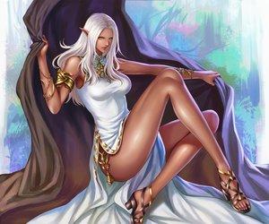 Rating: Safe Score: 98 Tags: dark_skin dress final_fantasy final_fantasy_xiv pengnangehao pointed_ears white_hair yellow_eyes User: FormX