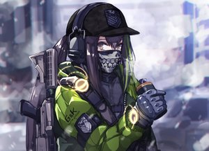 Rating: Safe Score: 88 Tags: anthropomorphism brown_eyes brown_hair girls_frontline gloves gun hat headphones long_hair m4a1_(girls_frontline) mask mishima_hiroji ponytail tom_clancy's_the_division weapon User: Nepcoheart