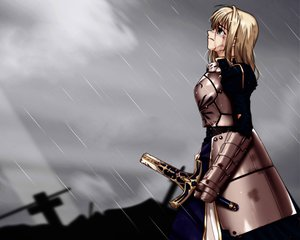 Rating: Safe Score: 25 Tags: artoria_pendragon_(all) blood fate_(series) fate/stay_night rain saber sword water weapon User: Oyashiro-sama