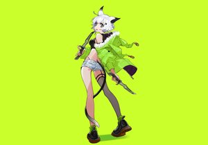 Rating: Safe Score: 21 Tags: animal_ears aqua_eyes boots catgirl green hoodie knife original short_hair shorts socks stockings tail weapon white_hair yuu_(higashi_no_penguin) User: otaku_emmy