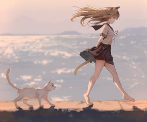 Rating: Safe Score: 109 Tags: animal animal_ears barefoot brown_eyes brown_hair cat catgirl kouyafu original school_uniform signed skirt tail water User: mattiasc02