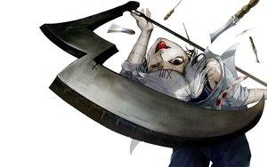 Rating: Safe Score: 68 Tags: all_male black_eyes knife male scythe suzuya_juuzou tokyo_ghoul uruo weapon white_hair User: FormX