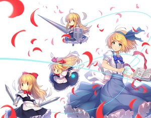 Rating: Safe Score: 34 Tags: alice_margatroid armor athrun1120 blonde_hair book bow doll dress green_eyes long_hair mage shanghai_doll short_hair spear sword touhou weapon User: RyuZU