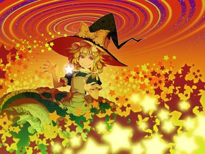 Rating: Safe Score: 45 Tags: blonde_hair bow dress flowers hat kirisame_marisa polychromatic stars touhou witch witch_hat yellow_eyes zounose User: STORM
