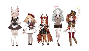Rating: Safe Score: 91 Tags: animal_ears bandage blonde_hair blue_hair bow brown_eyes brown_hair dress gray_eyes gray_hair gwayo halo hat horns loli original pointed_ears skirt tail thighhighs tie wink yellow_eyes User: FormX