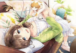 Rating: Safe Score: 28 Tags: animal blue_eyes brown_hair cat couch dress mono_lith original ponytail summer_dress User: BattlequeenYume