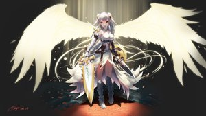 Rating: Safe Score: 119 Tags: armor boots braids breasts elbow_gloves gloves gray_hair orange_eyes petals puzzle_&_dragons ranyu_kuro signed sword valkyrie_(p&d) weapon wings User: FormX