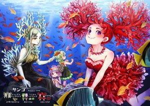 Rating: Safe Score: 20 Tags: animal anthropomorphism breasts cleavage dress fish gray_hair green_eyes green_hair group horns loli necklace original purple_eyes purple_hair red_hair short_hair sknsknss twintails underwater water User: otaku_emmy