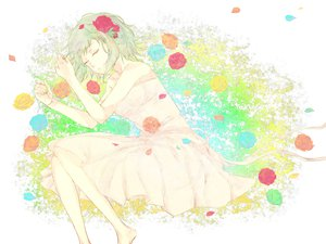 Rating: Safe Score: 21 Tags: caco_(fmym) dress flowers green_hair gumi rose short_hair sleeping vocaloid User: HawthorneKitty