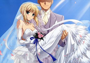 Rating: Safe Score: 23 Tags: artoria_pendragon_(all) breasts cleavage fate_(series) fate/stay_night flowers male petals rose saber wedding_attire User: 秀悟