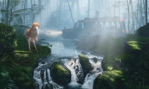 Rating: Safe Score: 33 Tags: anthropomorphism boots forest kemono_friends long_hair ogata_tank orange_hair orangutan_(kemono_friends) signed tree water waterfall User: otaku_emmy