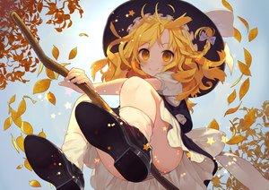 Rating: Safe Score: 237 Tags: autumn blonde_hair hat kirisame_marisa leaves long_hair misoni_comi panties striped_panties touhou underwear upskirt witch witch_hat yellow_eyes User: Flandre93