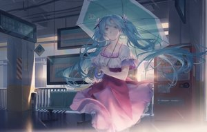 Rating: Safe Score: 52 Tags: hatsune_miku long_hair rain spencer_sais umbrella vocaloid water User: luckyluna