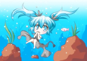 Rating: Safe Score: 47 Tags: animal blue_eyes blue_hair chibi deep-sea_girl_(vocaloid) dress fish hatsune_miku twintails underwater vocaloid water User: HawthorneKitty