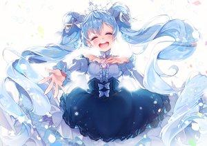 Rating: Safe Score: 61 Tags: aqua_hair blush bow dress hatsune_miku kanola_u long_hair petals tiara twintails vocaloid white yuki_miku User: RyuZU