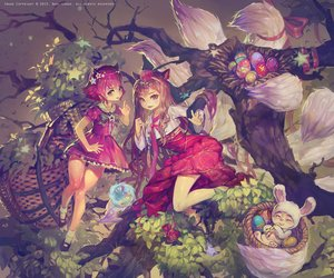 Rating: Safe Score: 232 Tags: 2girls ahri_(league_of_legends) animal_ears annie_hastur brown_eyes brown_hair dahl_lange foxgirl league_of_legends long_hair multiple_tails short_hair socks tail teemo tree User: Flandre93