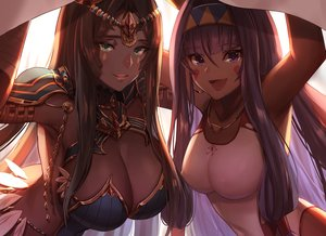 Rating: Safe Score: 119 Tags: 2girls breasts brown_hair cleavage dark_skin dolce_(dolsuke) erect_nipples fate/grand_order fate_(series) green_eyes headband long_hair necklace nitocris_(fate/grand_order) purple_eyes purple_hair scheherazade_(fate/grand_order) swimsuit User: BattlequeenYume