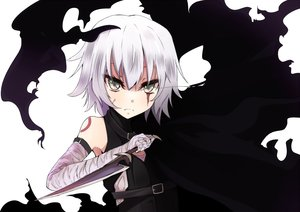 Rating: Safe Score: 40 Tags: bandage enelis fate/apocrypha fate_(series) gray_hair green_eyes jack_the_ripper knife scar short_hair User: RyuZU