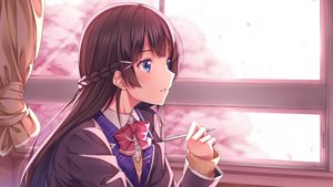 Rating: Safe Score: 82 Tags: blue_eyes blush bow braids brown_hair close long_hair nijisanji school_uniform tsukino_mito yuuri_nayuta User: RyuZU