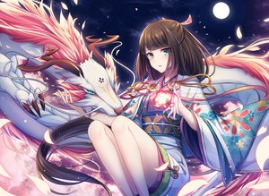 Rating: Safe Score: 65 Tags: brown_hair dragon green_eyes hinata_(uzukitten) japanese_clothes kimono long_hair magic moon night original petals User: BattlequeenYume