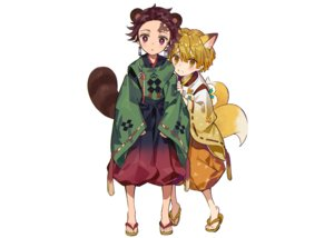 Rating: Safe Score: 9 Tags: agatsuma_zenitsu all_male animal_ears blonde_hair brown_eyes brown_hair japanese_clothes kamado_tanjirou kimetsu_no_yaiba male multiple_tails ninomotonino scar short_hair tail tears third-party_edit white yellow_eyes User: otaku_emmy
