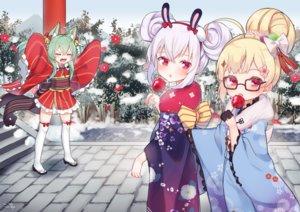 Rating: Safe Score: 43 Tags: akashi_(azur_lane) animal_ears anthropomorphism apple azur_lane bell blonde_hair candy catgirl cat_smile eldridge_(azur_lane) fang flowers food fruit glasses green_hair japanese_clothes kimono koko_ne laffey_(azur_lane) loli red_eyes signed snow stairs thighhighs white_hair winter zettai_ryouiki User: otaku_emmy