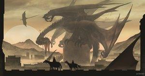 Rating: Safe Score: 82 Tags: animal arizuka_(13033303) bird brown building clouds dragon horse monochrome moon original scenic User: FormX