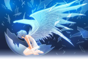 Rating: Safe Score: 208 Tags: angel barefoot blue blue_eyes blue_hair carnelian dress original short_hair wings User: Zolxys