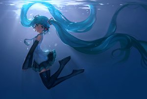 Rating: Safe Score: 92 Tags: aqua_eyes aqua_hair hatsune_miku headphones jpeg_artifacts kklaji008 long_hair thighhighs tie underwater vocaloid water User: FormX