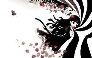 Rating: Safe Score: 74 Tags: black_hair butterfly flowers funakura halloween kirishiki_sunako pointed_ears shiki white User: HawthorneKitty