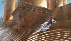 Rating: Safe Score: 66 Tags: animal barefoot breasts cat cleavage dress ghostblade gray_hair logo princess_yan scenic stairs watermark wlop User: gnarf1975