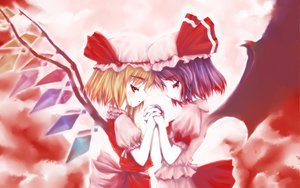 Rating: Safe Score: 57 Tags: 2girls blonde_hair dress flandre_scarlet hat purple_hair red_eyes remilia_scarlet ribbons short_hair touhou vampire wings User: Oyashiro-sama