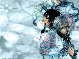 Rating: Safe Score: 12 Tags: all_male flowers kiryu_zero kuran_kaname male petals rose suit vampire_knight User: kahoko