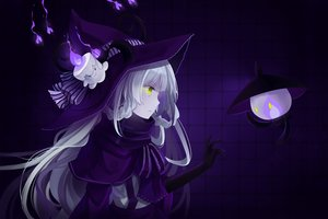 Rating: Safe Score: 158 Tags: gloves green_eyes hat hitsukuya horns lampent litwick pokemon purple white_hair witch witch_hat User: CgGirl