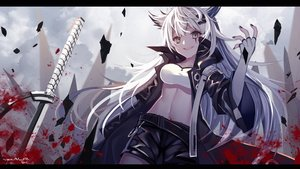 Rating: Safe Score: 71 Tags: aluppia animal_ears arknights blood brown_eyes elbow_gloves gloves katana lappland_(arknights) long_hair navel scar shorts sword weapon white_hair User: BattlequeenYume