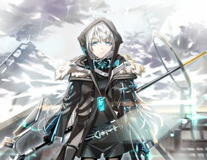 Rating: Safe Score: 44 Tags: aqua_eyes clouds ddaomphyo gray_hair hoodie original sky spear weapon User: RyuZU