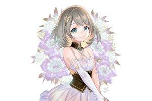 Rating: Safe Score: 51 Tags: brown_hair dress flowers foo_midori green_eyes original rose short_hair signed white User: otaku_emmy