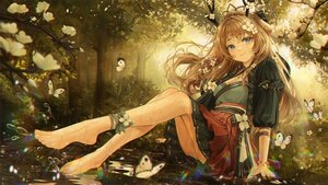 Rating: Safe Score: 90 Tags: animal_ears barefoot bbeedol blue_eyes blush breasts brown_hair butterfly cleavage flowers forest horns long_hair tree water User: BattlequeenYume