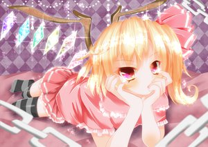 Rating: Safe Score: 90 Tags: blonde_hair bow chain flandre_scarlet red_eyes short_hair thighhighs touhou vampire wings yuimari zettai_ryouiki User: ガラス
