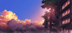 Rating: Safe Score: 42 Tags: building clouds nobody original scenic sennotane sky sunset tree User: otaku_emmy