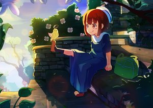 Rating: Safe Score: 18 Tags: animal bird brown_eyes brown_hair dress loli original petals short_hair stairs zongmao User: RyuZU