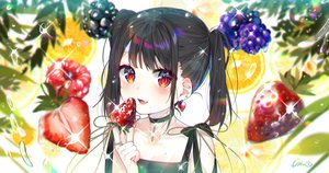 Rating: Safe Score: 56 Tags: black_hair blush bow choker fang food fruit leaves long_hair orange_(fruit) original red_eyes signed strawberry twintails urim_(paintur) water User: otaku_emmy