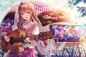 Rating: Safe Score: 61 Tags: braids brown_hair butterfly guitar instrument jpeg_artifacts junpaku_karen lolita_fashion original petals rainbow red_eyes reflection sky twintails User: BattlequeenYume