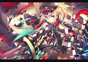 Rating: Safe Score: 99 Tags: aqua_eyes blonde_hair blush chain hat ichiyan long_hair original ponytail sword weapon User: RyuZU