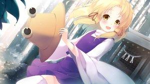 Rating: Safe Score: 38 Tags: blonde_hair blush gengetsu_chihiro hat moriya_suwako short_hair skirt thighhighs touhou yellow_eyes User: RyuZU