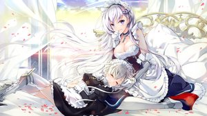 Rating: Safe Score: 188 Tags: 2girls anthropomorphism apron armor azur_lane belfast_(azur_lane) braids breasts chain cleavage cross dress elbow_gloves garter_belt gloves headdress juna long_hair maid petals purple_eyes sheffield_(azur_lane) stockings thighhighs white_hair User: Nepcoheart
