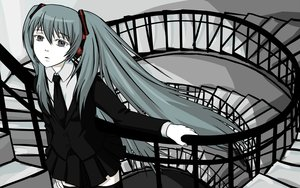 Rating: Safe Score: 27 Tags: hatsune_miku long_hair polychromatic stairs thighhighs tie tower_of_sunz_(vocaloid) twintails vocaloid User: humanpinka